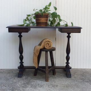 Refinished natural wood desk or entry table or hall table or vanity