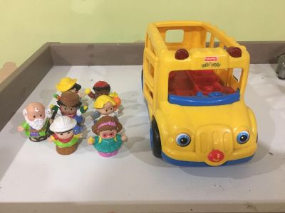 Little people with Fisher price school bus