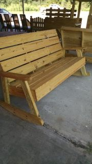 solid wood benches and rockers
