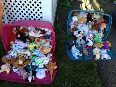 2 buckets of Beenie Babies