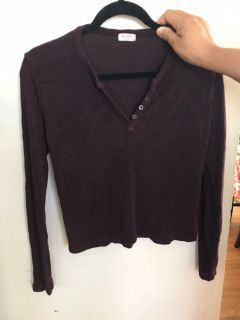 Brugundy soft and warm shirt size small