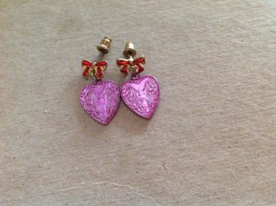 Pink heart red bow earrings
