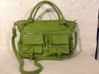 LIKE-NEW Carry-all large crossbody stylish hobo purse in lime green faux leather