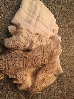 Lot of imperfect table linens and doiles