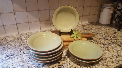 "Salad Plates Set of 8. Style-Eyes by Baum Bros. Naturals Collection in Green with Brown Rim. 7.75"" R."