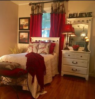 Custom camo and silk lined curtains, 3 camo throw pillows, 2 red pillows and lamp shade