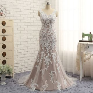 Chloe's Mermaid Lace V Neck Wedding Gown