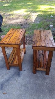 Handmade cypress end tables