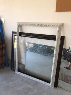 FREE two extra large frames and two large bathroom wall vanity mirrors