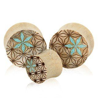 Floral wood plugs body jewelry