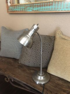 EUC brushed silver desk lamp, larger than the avg dorm desk lamp, it s more professional looking, $8!