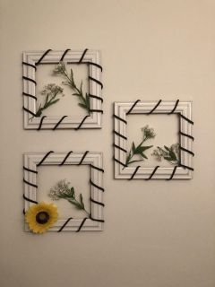 3 hand crafted picture frames