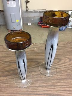 2 glasses candle holders
