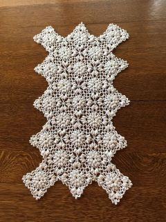 21 x 11.5 Vintage Crocheted Raised Floral Runner/Scarf