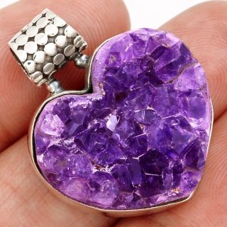 New - Natural Heart Amethyst Druzy 925 Sterling Silver Pendant (Includes a chain)