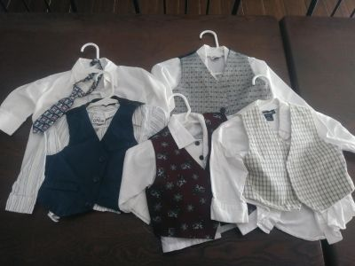 Boys dress shirts and vests sz 12 months $3 for all