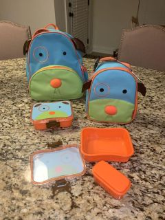 Skip Hop Puppy Backpack lunchbox and Tupperware containers