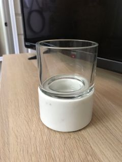 Marble and glass candle holder