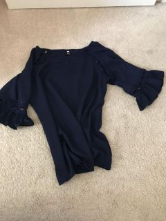 Navy boutique style blouse with bell sleeves
