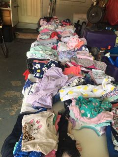 Two tables of little girl clothes - GARAGE SALE TODAY!