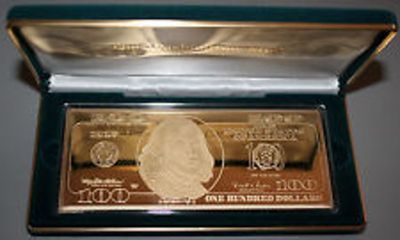 $100 Benjamin Franklin .999 Pure Silver 24 K plate Proof
