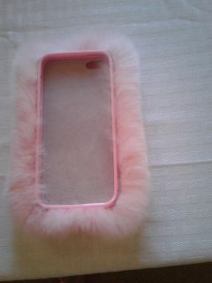Pink fur case for iphone 5 so soft so cute and furry has bling around camera hole $2