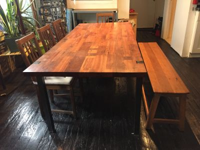 Repurposed dinning table for 8