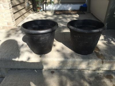 """Pair of plastic planters 11"""" deep by 13"""" wide"""