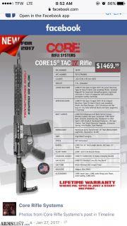 For Sale: Core15 Tac IV 5.56 AR15