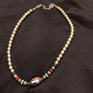 Handmade sterling silver and stone necklace