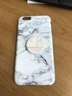iPhone 6 Plus/ 6s marble case with pop socket