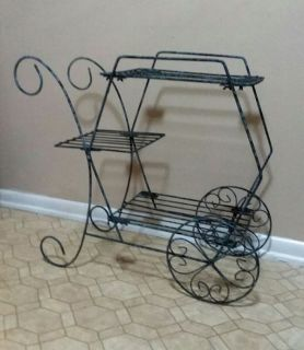 WROUGHT IRON/WAGON/PLANT STAND.........EXCELLENT CONDITION
