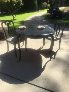 Black Wood Table with two chairs