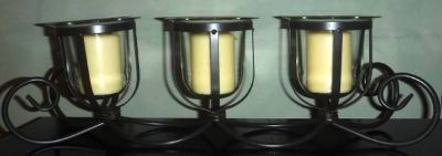 Large 3 Pillar Candle Holder ~ Glass w/Metal Stand