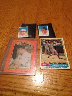 Baseball cards and stamps