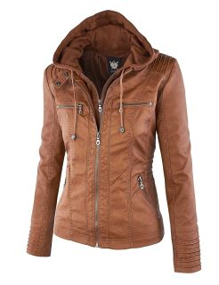 Beautiful, NEW Carmel color faux leather Jacket with hoodie