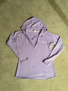 Victoria s Secret PINK Lavender hooded top. Size Small. Great length for leggings.