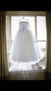 David s Bridal wedding dress size 14 with train (shoes and jewelry not included)