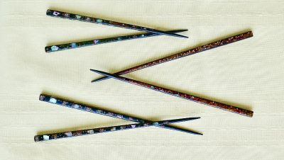3 Vintage Wakasa Genroku Chopsticks Lacquered Wood w/Mother of Pearl