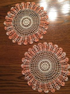 Pair of Vintage 10 Variegated Peach Shell Stitched Dollies