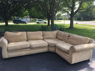 Beautiful POTTERY BARN microfiber tan couch sectional 122 x91 . Can be separated into two Love seats which I ve done lately for a change