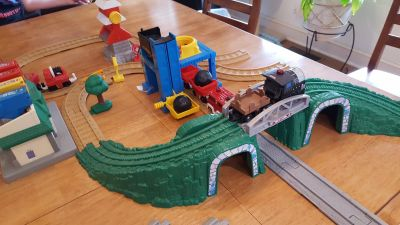 Fisher-Price GeoTrax train sets with 4 trains