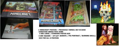 Minecraft Poster Lot 6 Posters Creeper Underground World Cube Burning Skull Hand & Fighter Pig