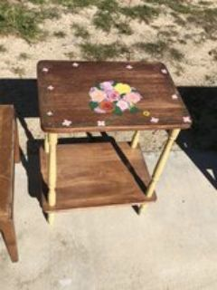 hand painted wooden side table