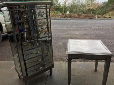 Mirrored glass dresser and end table