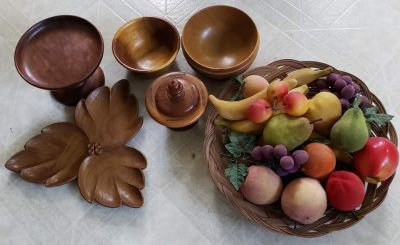 Vintage Wood Pieces and Fake Fruit
