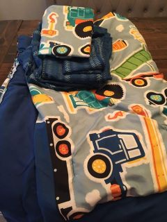 Trucks twin comforter, sheets and wall decals