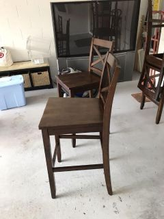 4 counter height wood chairs