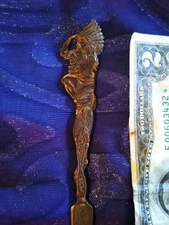 Antique Solid Brass Native American Letter Opener!!