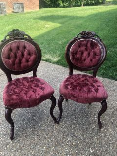 30.00 for both antique chairs. They need to be cleaned and one has some damage to the top. Great deal!Beautiful cleaned & used as side chair